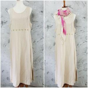 ERICA & CO Vintage 80s Long Cream Linen Boho Dress